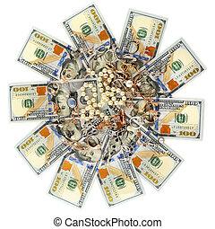 bijouterie, or, dollars, sommet, isolé, arrière-plan., vue., blanc