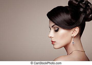 bijouterie, portrait, mode, belle femme, jeune