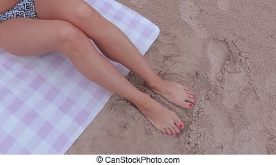 bikini, femme, mer