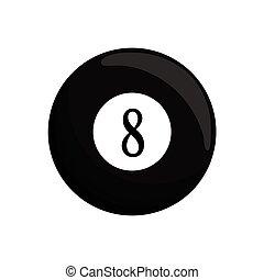 billard, balle, huit, icône, noir