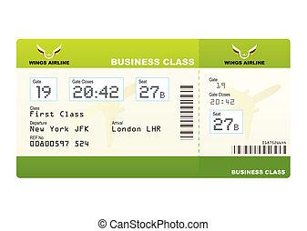 billets, avion, vert, classe, business