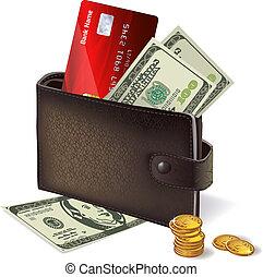 billets banque, crédit, pièces, carte, portefeuille