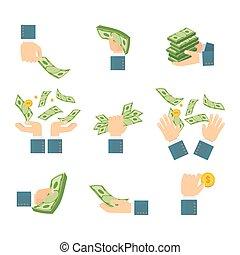 billets banque, ensemble, mains