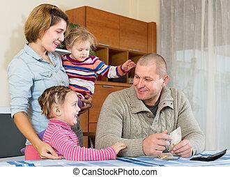billets banque, famille, heureux