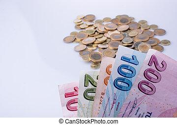 billets banque, lire, pièces, côté, turc