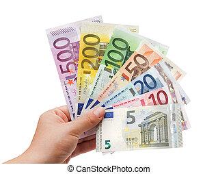 billets banque, main, white%ufffc, euro