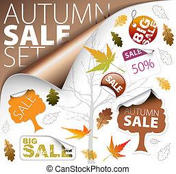 billets, ensemble, saison, étiquettes, vente, (fall)