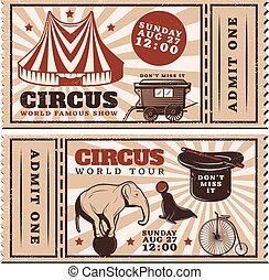 billets, exposition, vendange, cirque, publicité, horizontal