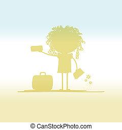 billets, touriste, conception, valise, ton, heureux
