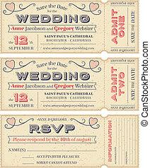 billets, vecteur, inviter, mariage