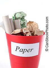 bin-, recyclage, papier