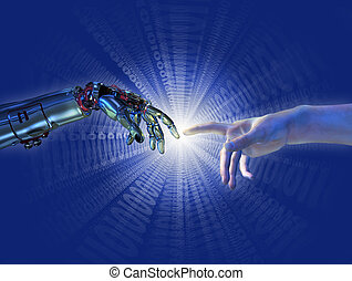 binaire, éclater, intelligence, -, artificiel, naissance