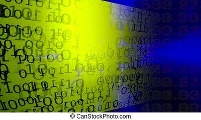binaire, data., ruisseau, grand, résumé, arrière-plan., technologie, données, code.