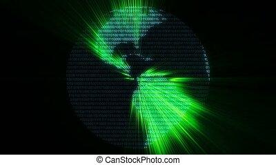 binaire, graphique, informatique, cyberespace, code, vert, monde numérique, données, animation