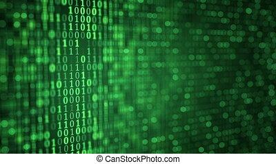 binaire, gros plan, peu profond, dof, vert, numérique, données, boucle