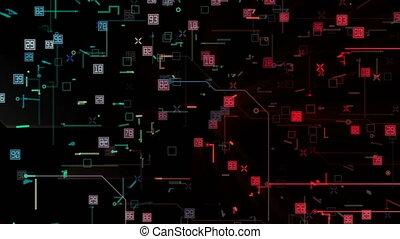 binaire, techno, vidéo, fond, connecté