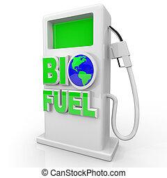 biofuel, -, pompe gaz, station, vert