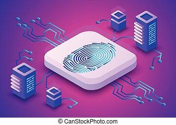 biométrie, blockchain, vecteur, illustration technologie