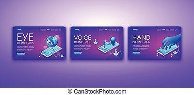 biométrie, illustration, main, vecteur, voix, oeil