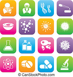 biotechnologie, style, ensembles, plat, icône