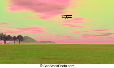 biplan, -, atterrissage, render, 3d