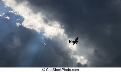 biplan, avion, vieux