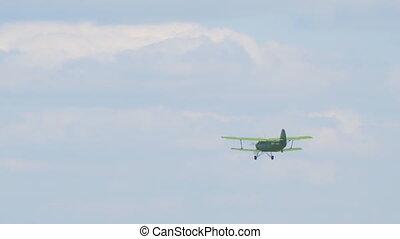 biplan, ciel, mouches, avion, vieux