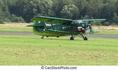 biplan, herbe, runway., vieux