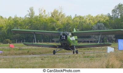 biplan, piste, avion, vieux