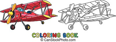 biplan, rigolote, eyes., livre coloration, avion