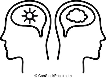 bipolaire, style, mental, contour, désordre, icône