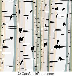 birches., troncs, illustration