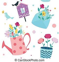 birdhouse., fleurs, vecteur, printemps, arrière-plan., seamless, enveloppe
