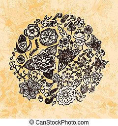 birds., été, différent, fait, grunge, vendange, paper., papillons, flowers., illustration, rond, forme, arrière-plan., clair, vecteur, feuilles, cercle, fleurs, grands traits