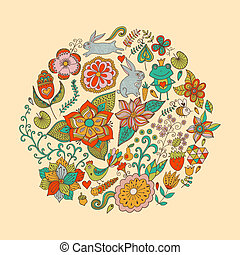 birds., été, différent, fait, vendange, feuilles, papillons, clair, illustration, rond, forme, arrière-plan., flowers., vecteur, cercle, fleurs, grands traits