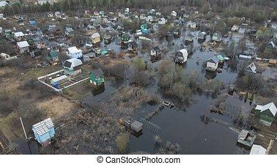 bird's-eye, maisons, inondé, below., printemps, vue, jardin, inondation