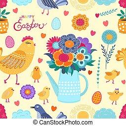 birds., rigolote, coloré, printemps, modèle, oeufs, seamless, fleurs, vecteur, poulets, paques