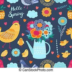 birds., rigolote, coloré, printemps, seamless, vecteur, modèle, fleurs