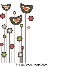 birds., vecteur, arbre, illustration