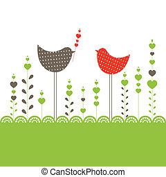 birds., vecteur, fond, illustration