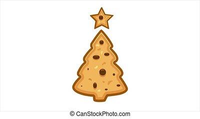 biscuits, arbre, formé, noël