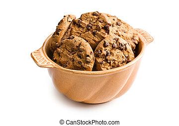 biscuits, céramique, bol, chocolat