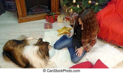 biscuits, elle, cadeau, chien, girl, donne