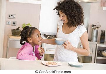 biscuits, femme, café, jeune sourire fille, cuisine