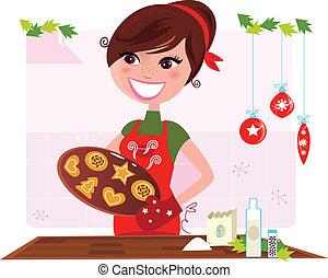 biscuits, femme, préparer, noël