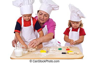 biscuits, gosses, faire, grand-mère, comment, enseignement