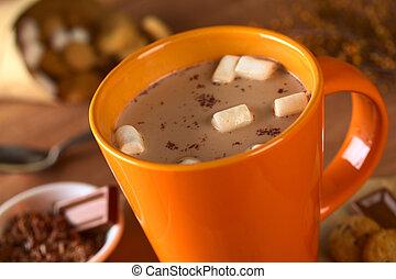 biscuits, guimauves, tasse, entouré, chaud, foyer, chocolat, milieu, foyer, (selective, orange, chocolate)