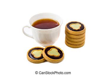 biscuits, tasse, thé