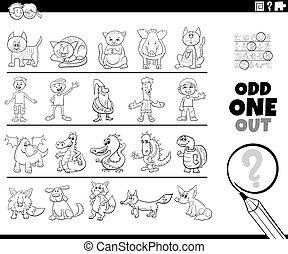 bizarre, page, jeu, image, coloration, une, dehors, livre