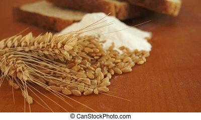 blé, farine, grain, chariot, coup, pain
